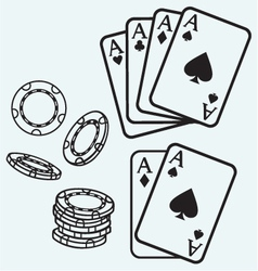 Gambling cards and chips vector
