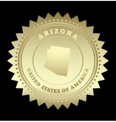 Gold star label arizona vector