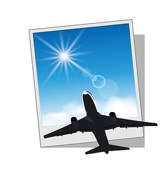 Photo frame with plane and sky vector