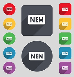 New icon sign a set of 12 colored buttons and a vector