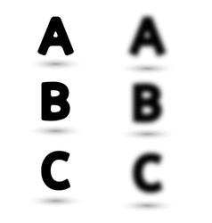 Sharp and unsharp alphabet letters font vector