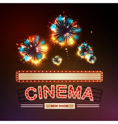 Neon sign cinema and firework vector