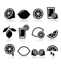 Lemon lime icons set vector