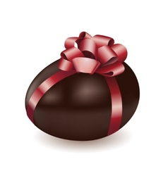 Chocolate egg with red bow vector