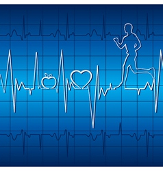 Heartbeat graph with running men in blue backgroun vector