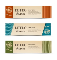 Retro horizontal banners with colored stripes vector