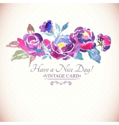 Colorful watercolor rose floral greeting card vector