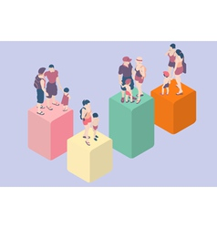 Isometric infographic family types - lgbt included vector