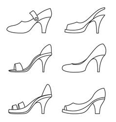 Set of outline high heels shoes vector