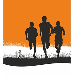 Runners in nature vector