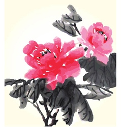 Chinese flower painting vector