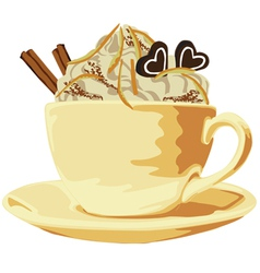 Cup of coffee with cream vector