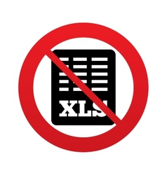 No excel file document icon download xls button vector