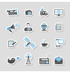 Media and news icons sticker set vector