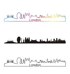 London skyline linear style with rainbow vector