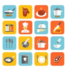 Cooking icons flat vector