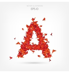 Origami paper birds alphabet letter a vector