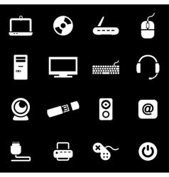 White computer icon set vector