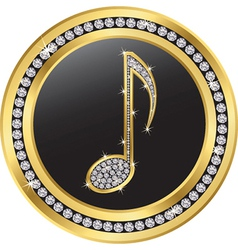 Music note gold icon with diamonds vector