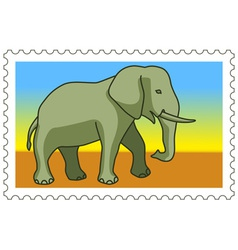Elephant on stamp vector