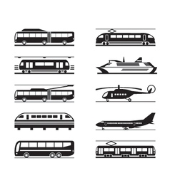 Public transportation icon set vector