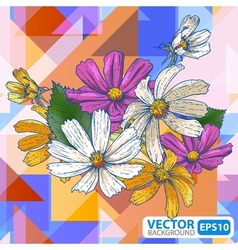 Flowers on a geometric background vector