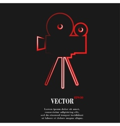 Videocamera flat modern web button and space for vector