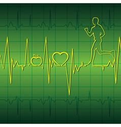 Green heart beat graph background with running men vector