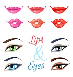 Set of lips and eyes vector