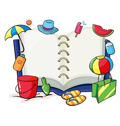 An empty book with the things used during summer vector