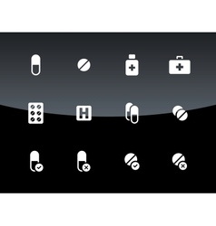 Pills medication icons on black background vector