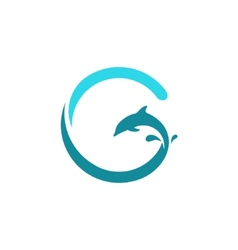 Sign the letter g dolphin vector
