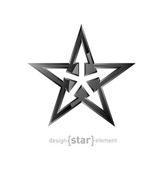 Abstract metal star with arrows on white vector