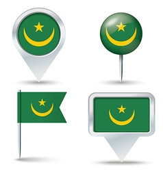 Map pins with flag of mauritania vector