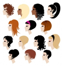 Set of trendy hair styling for woman vector