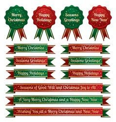Christmas ribbons and emblems vector