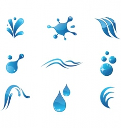Water elements icons vector