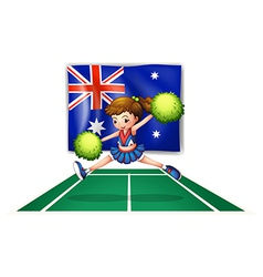 The flag of australia with a young cheerdancer vector