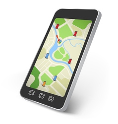 Map on the smartphone screen vector