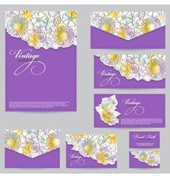 Set design for business cards envelopes postcards vector
