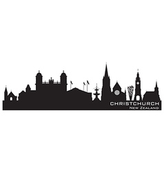 Christchurch new zealand skyline detailed silhouet vector