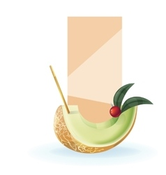Slice of exotic fruit decorated realistic isolated vector