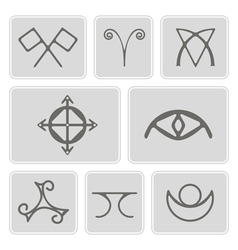 Icons with magical symbols of the elves of fyn vector