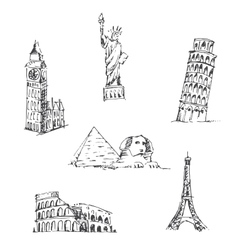 Doodle travel set world famous landmarks vector