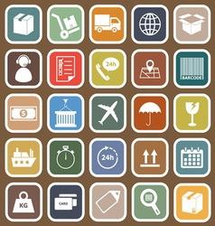 Logistics falt icons on brown background vector