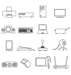 Computer peripherals black outline icons set eps10 vector
