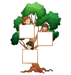 Tree sign with kids vector