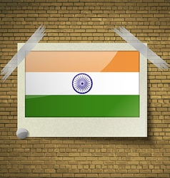 Flags india at frame on a brick background vector