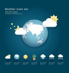 Modern weather icons color design vector