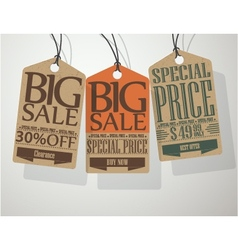 Vintage style sale tags vector
